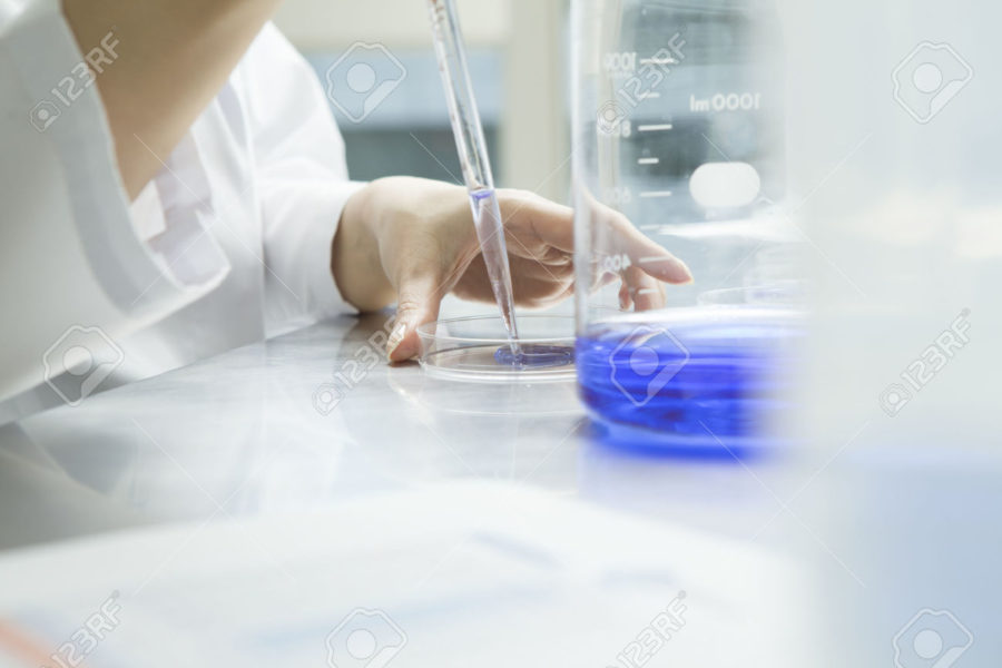 50948820-Women-researchers-have-put-the-liquid-in-a-Petri-dish-with-dropper-Stock-Photo